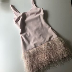 Elizabeth and James ostrich feather mini dress